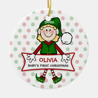 Baby's First Christmas Elf Girl2 Ceramic Ornament