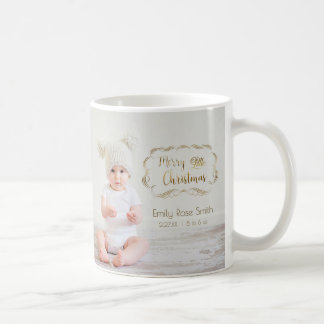 Baby's First Christmas Gold Swirly Frame 2 Photo Coffee Mug