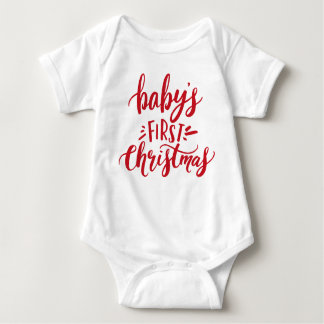 Baby's First Christmas Hand Lettering Baby Bodysuit
