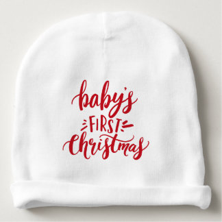 Baby's First Christmas Hand Lettering Personalized Baby Beanie
