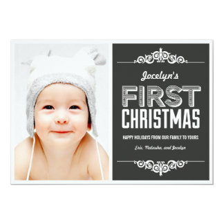 """Baby's First Christmas Holiday Cards - Charcoal 5"""" X 7"""" Invitation Card"""
