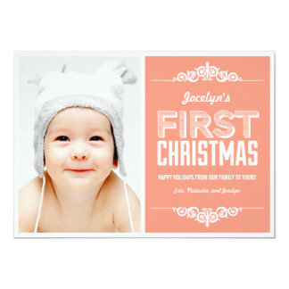 "Baby's First Christmas Holiday Cards - Salmon 5"" X 7"" Invitation Card"