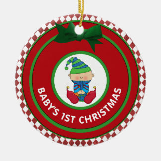 Babys First Christmas Holiday Elf Personalized Ceramic Ornament