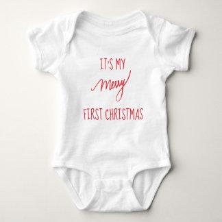 Baby's First Christmas   Modern 1st Christmas Baby Bodysuit