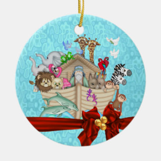 BABY'S FIRST CHRISTMAS  NOAHS ARK ORNAMENT red bow