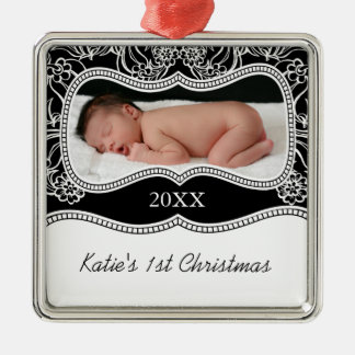 Baby's First Christmas Silver-Colored Square Ornament