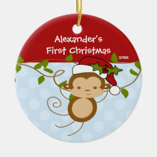 Baby's First Christmas Ornament Boy Santa Monkey