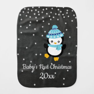 Baby's First Christmas Penguin Chalkboard Burp Cloth