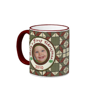 Babys First Christmas Personalized Photo Dated Ringer Coffee Mug