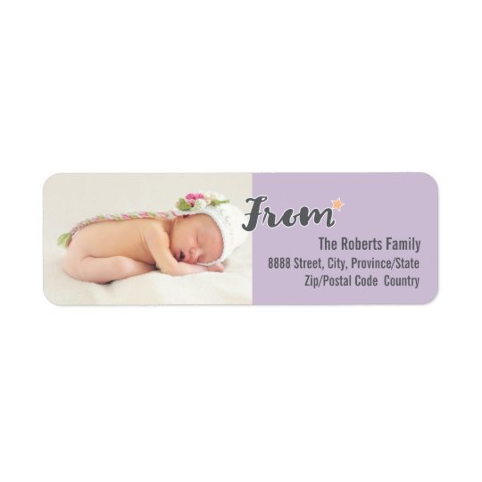 Baby's First Christmas Personalized Photo, purple Return Address Label