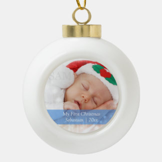 Babys First Christmas Personalized Photo Template Ceramic Ball Ornament