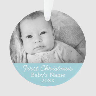 Baby's First Christmas Photo - Blue Boy Background