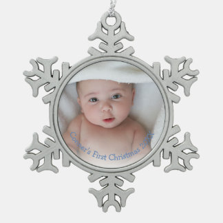 Babys First Christmas Photo Boy Blue Ornament
