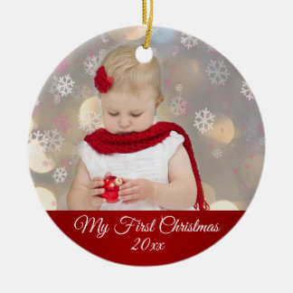 Baby's First Christmas Photo Ceramic Ornament