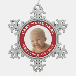 Baby's First Christmas Photo Custom Name and Year Pewter Snowflake Ornament
