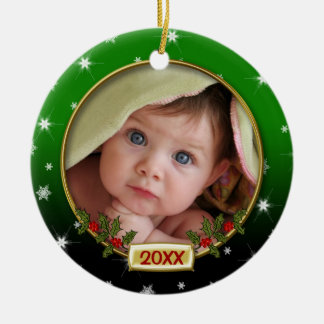Baby's First Christmas Photo Frame Ceramic Ornament