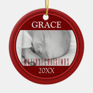Baby's First Christmas Photo Keepsake Double Sided Ceramic Ornament