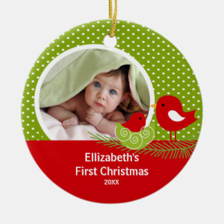 Babys First Christmas Photo Ornament Baby Bird