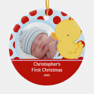 Babys First Christmas Photo Ornament Duck Boy