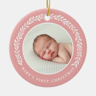 Baby's First Christmas Photo Ornament | Peach