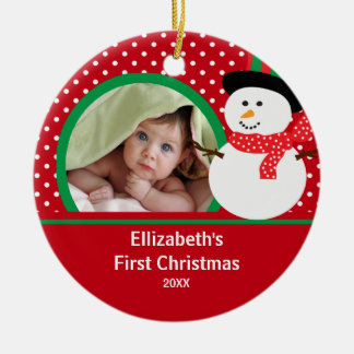Babys First Christmas Photo Ornament Snowman