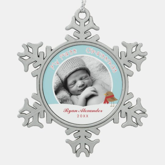 Baby's First Christmas Photo Pewter Snowflake Ornament
