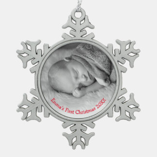 Baby's First Christmas Photo Red Name Ornament