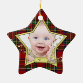 Baby's First Christmas Photo Star Tartan Xmas Ceramic Star Ornament