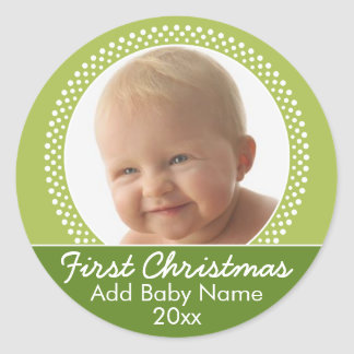 Baby's First Christmas Photo Template Round Sticker