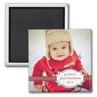 Baby's First Christmas Photo with Faux Ribbon Square Magnet