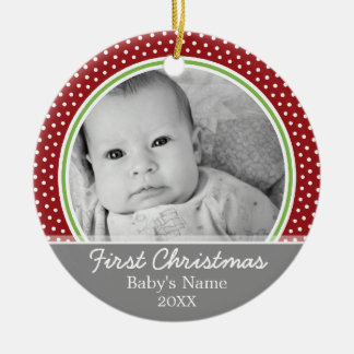 Babys First Christmas - polka dots Ceramic Ornament