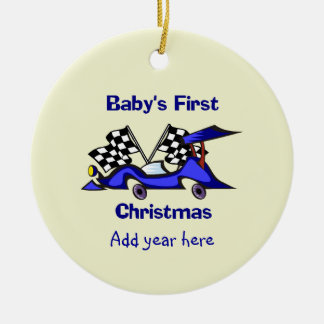 Babys First Christmas Racecar Ceramic Ornament