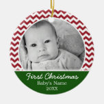 Babys First Christmas - red chevrons and green Round Ceramic Ornament