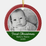 Babys First Christmas - Red Polka Dots Round Ceramic Ornament