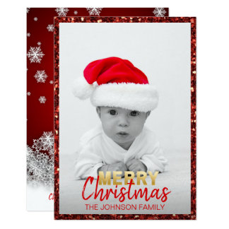 BABY's FIRST CHRISTMAS Red Snow | add PHOTO Card