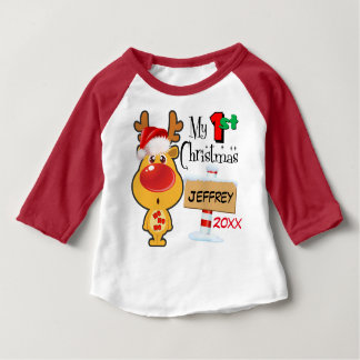 Baby's First Christmas Reindeer Custom Baby T-Shirt