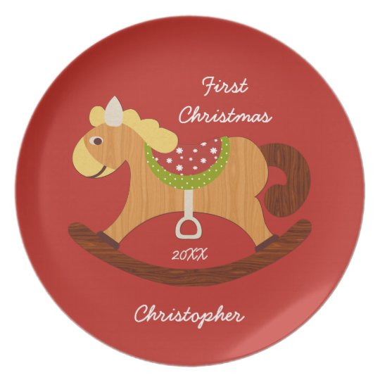 Baby's First Christmas Rocking Horse Plate