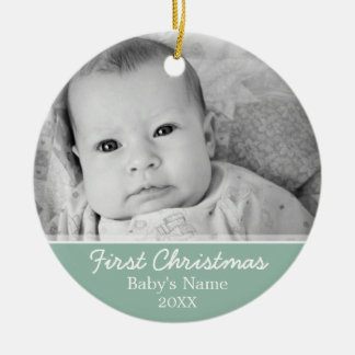 Babys First Christmas Round Ceramic Ornament