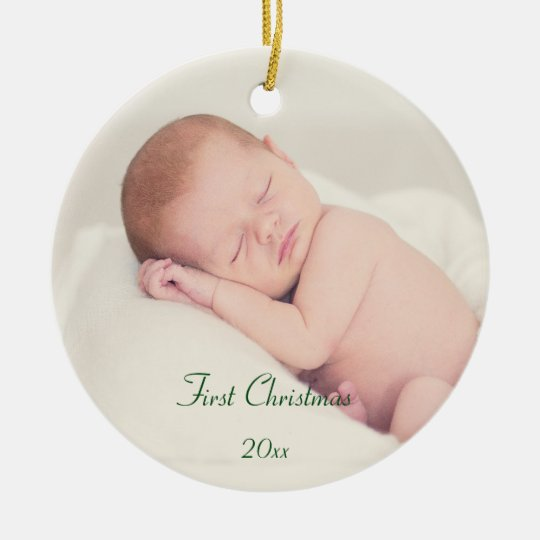 Baby's First Christmas Round Ceramic Ornament