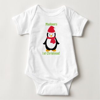 Baby's First Christmas Shirt, Personalized Penguin Baby Bodysuit