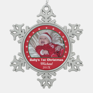 Baby's First Christmas Snowflake Photo Ornament