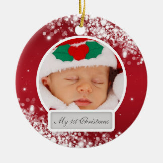 Baby's First Christmas Sparkling Wave Red Ceramic Ornament