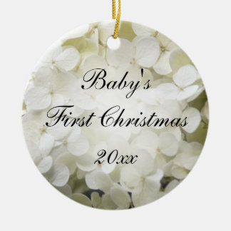 Baby's First Christmas White Hydrangea Ceramic Ornament