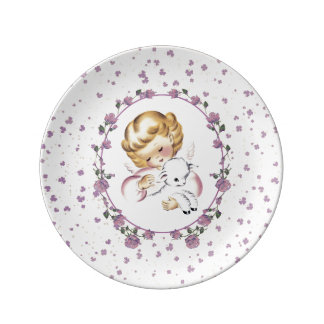 Baby's First Easter. Little Angel with Lamb Plates