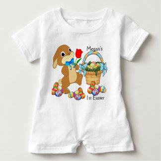Baby's First Easter Romper NAME Snap Crotch Cotton