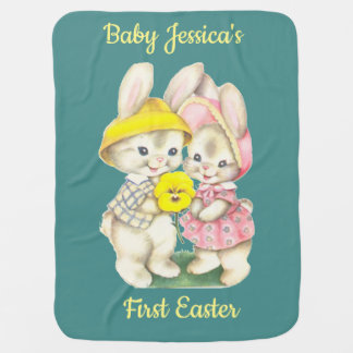 Baby's First Easter. Vintage Bunnies. Baby Blanket