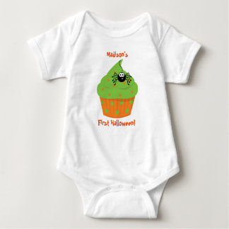 Baby's First Halloween Shirt, Cupcake, Spider Baby Bodysuit