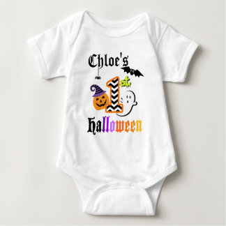 Babys First Halloween Shirt w Chevron