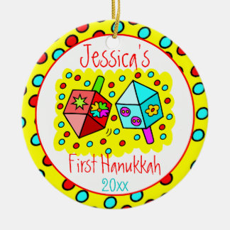 Baby's First Hanukkah - ONE-SIDED Round Ceramic Ornament