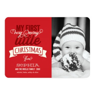"Baby's First Merry Little Christmas Photo Card 5"" X 7"" Invitation Card"